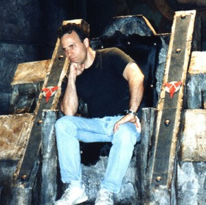 Doug Drexler sits upon a Klingon throne